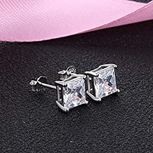Details about  /Rose Gold Over Sterling Silver 925 Square Princess Cut CZ Stud Earrings 5x5 MM