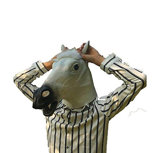 PIUPIU Novelty Halloween Costume Masquerade Party Animal Head Mask - Brown Horse (White) ()