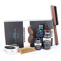 5pcs Beard Kit for Men Beard Growth Grooming Beard Balm, Natural Beard Oil, Beard Wash, Comb & Brush in a stylish Gift Box