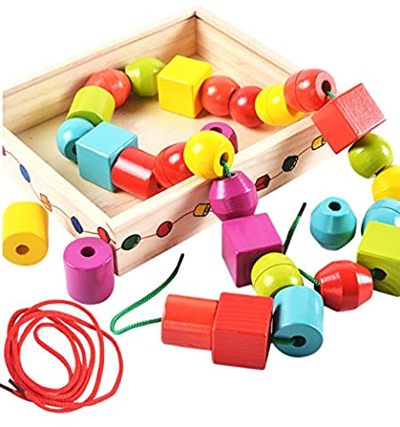 Lewo Wooden Large Jumbo Lacing Beads for Toddlers Montessori Educational Toys 30 Pcs with 2 Laces (Montessori One Year Old)