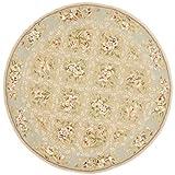 Safavieh French Tapis Collection FT211B Handmade Sand and Green Premium Wool Round Area Rug (4' Diameter)