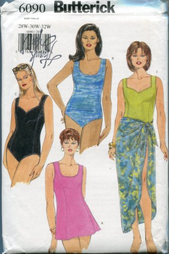 Butterick Sewing Pattern 6090 Sizes 28W-30W-32W Women's/Women's Petite Swimsuit and Cover-Up