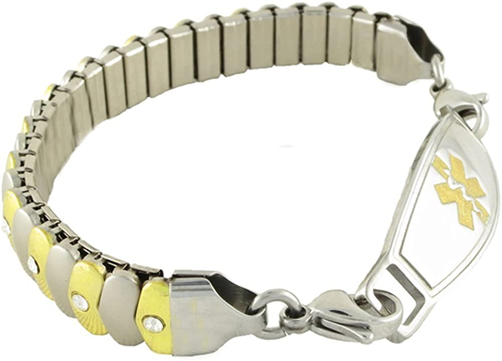 Women s Medical Alert ID Bracelet – Custom Engraving Included, Two-Tone Sparkle, Stretch – Asteria