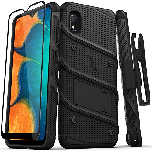 ZIZO Bolt Series Samsung Galaxy A10e Case | Heavy-Duty Military-Grade Drop Protection w/Kickstand Included Belt Clip Holster Tempered Glass Lanyard (Black/Black)