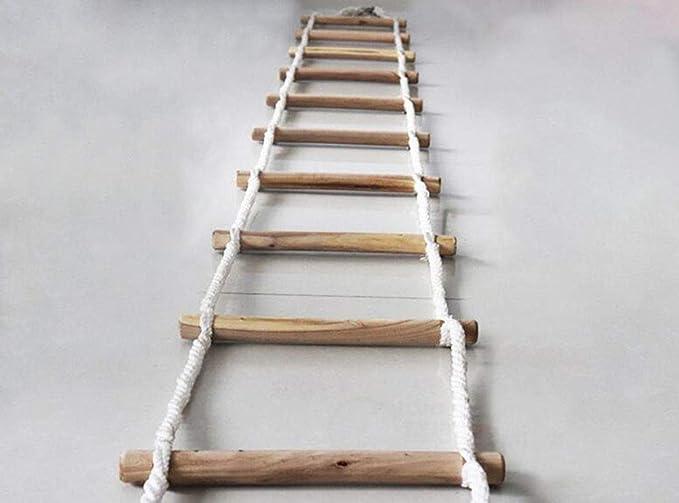 QXY Escaleras De Cuerda De 10 M - Escalera De Cuerda De Rescate Escalera De Madera Escalera Blanda Escape contra Incendios Seguridad Escalera De Cuerda Seguridad En El Trabajo De Emergencia: Amazon.es: