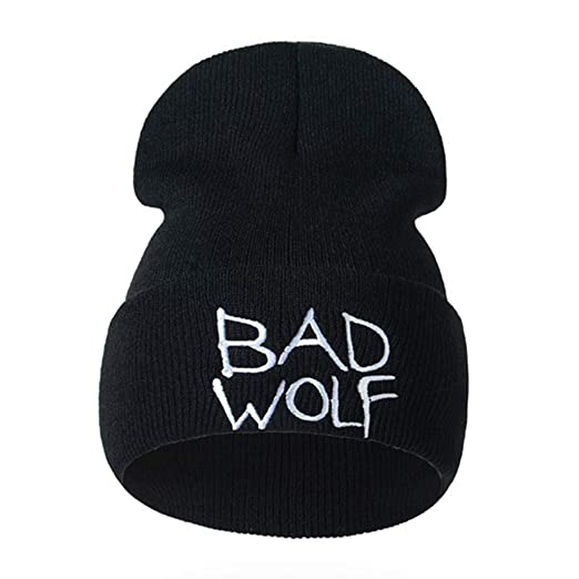 da50ef65e22 Unisex Beanie Hat Winter Warm Knitted Bad Wolf Letters Embroidery Caps  (Black