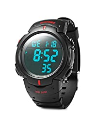 Rosegal Water Resistance Military LED Digital Watch Stopwatch Alarm Day Date Function(Red)