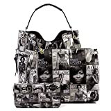Glossy Magazine Cover Collage 3-in-1 Shoulder Bag Hobo Michelle Obama Handbag (Q-Black/White)