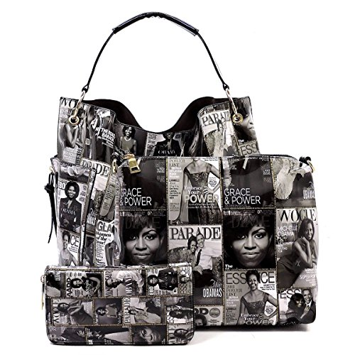 (Glossy Magazine Cover Collage 3-in-1 Shoulder Bag Hobo Michelle Obama Handbag (Q-Black/White))
