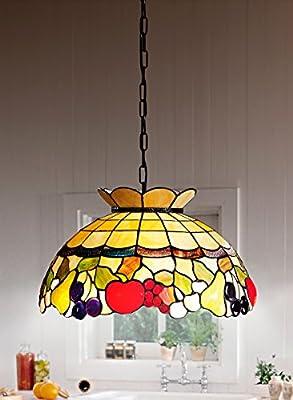 Lámpara de techo tiffany con cadena ámbar con dibujo de fruta ...