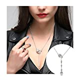 Skull Necklace for Women Long Gothic Jewelry Cool Cross Rock Necklaces (Sliver)