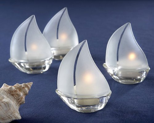 Frosted Glass Sailboat Tealight Holders - 60