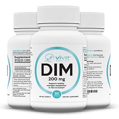 Vive Essentials DIM Supplement 200 mg (90 Capsules) - Diindolylmethane Pills for Women, Men - Extra Strength Vitamin Vegan Powder Body Building - 200 90 Pills Mg