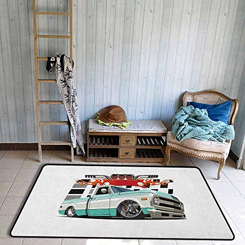 - Skid-Resistant Rug,Truck Lowrider Pickup with Racing Flag Pattern Background Speeding on The Streets Modified,Anti-Slip Doormat Footpad Machine Washable,3'3