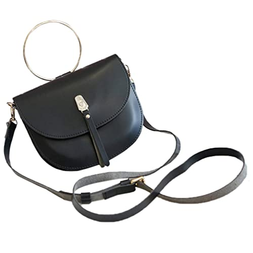b28de53f191 Image Unavailable. Image not available for. Colour: Women Soft Leather  Round handbag Simple Diagonal Cross-body Color Saddle Bag