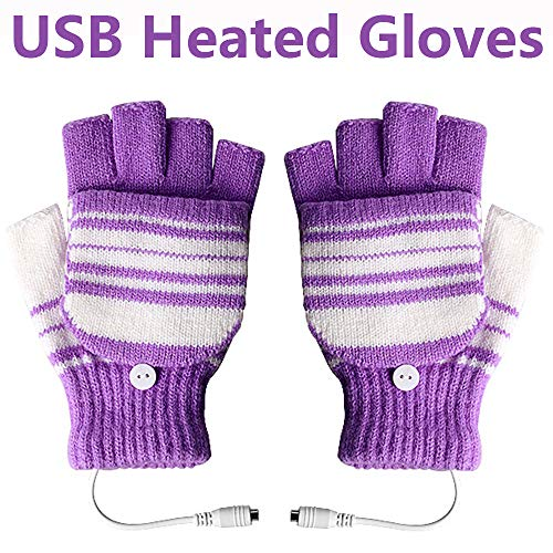 USB Heated Gloves for Men and Women Mitten, AIKIN USB 2.0 Powered Stripes Heating Pattern Knitting Wool Heated Gloves Hands Warmer Laptop/Computer Gloves Fingerless Washable Design (Purple) ()