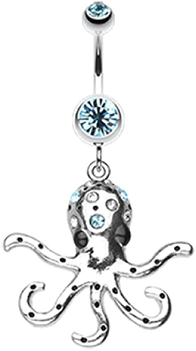 Octopus Sparkle 316L Surgical Steel Freedom Fashion Belly Button Ring Sold by Piece