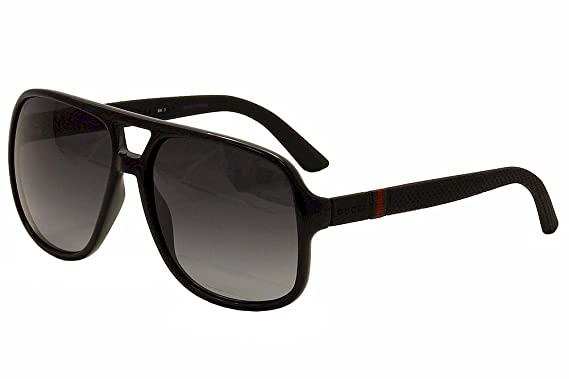 00e629e5fcd6d Image Unavailable. Image not available for. Color  Gucci 1115 S M1V Black   Rubber  1115 S Square Aviator Sunglasses ...