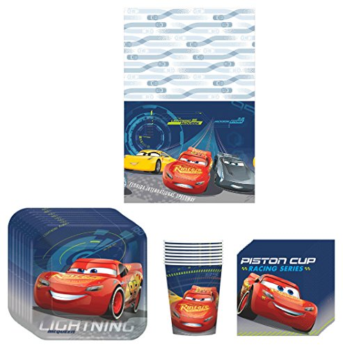 Disney Cars 3 Lighning McQueen Birthday Party Supplies Bundle Kit Including Plates, Cups, Napkins and Table cover - 8 (Disney Cars Party Table)