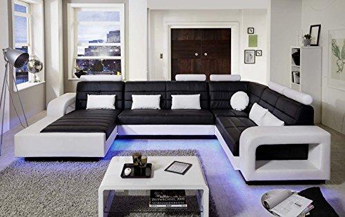 SAM® Wohnlandschaft New York mit LED Beleuchtung in der Ausführung schwarz / weiß Sitzfläche im abgesteppten Design und angenehme Polsterung Größe ca. 185 x 363 x 243 cm Kissen inklusive pflegeleichte Oberfläche futuristisches Design Lieferung montiert per Spedition