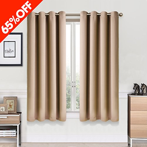 Window Treatments Ideas (Fairyland Blackout Curtains Darkening Thermal Insulated Drapes Window Treatment for Living Room/Bedroom, 2 Panels (52 x 63 inch, Camel))