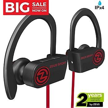 Wireless Bluetooth Headphones Zeus IMPROVED 2018 Best Sport Headphones - Wireless Earbuds w/ Mic Noise Cancelling - Running Headphones - Workout Headphones Earphones - Sports Earbuds for Women for Men