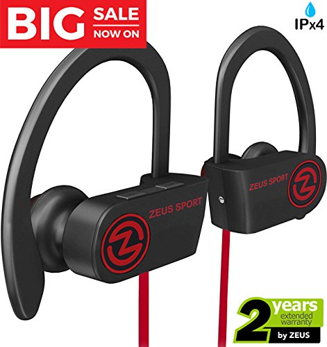 Wireless Bluetooth Headphones Zeus IMPROVED 2017 Best Sport Headphones - Wireless Earbuds w/ Mic Noise Cancelling - Running Headphones - Workout Headphones Earphones - Sports Earbuds for Women for Men