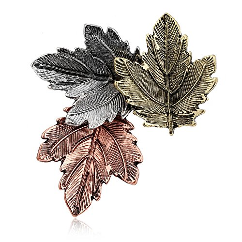 Brooch Gold Leaf Pin (Lakke New Vintage Pin Maple Leaf Brooch Gold Silver Plated Brooches Pins Exquisite Collar For Women Dance Party Accessories Antique Gold Plated)