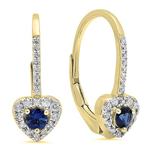 3 Mm Sapphire Heart - Dazzlingrock Collection 14K 3 MM Each Round Blue Sapphire & White Diamond Ladies Heart Shape Drop Earrings, Yellow Gold