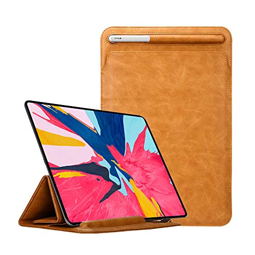 (iPad Pro 12.9 Case 2018 with Apple Pencil Holder TOOVREN Tri-fold Stand iPad Leather Sleeve PU Protective Pouch Cover iPad 3rd Generation Case for Apple iPad Pro 12.9 Brown )