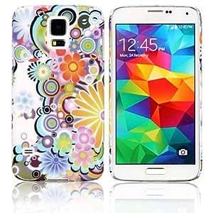 TY-Caso duro de la cubierta coloreada Flores para Samsung Galaxy i9600 S5