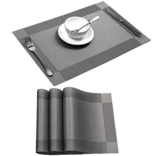 Placemat Sets of 4, Placemats Heat-Resistant Dining Table Place mats Anti-Skid Washable PVC Kitchen Table Mats Tablemats for Dining Table (Silver-Gray)