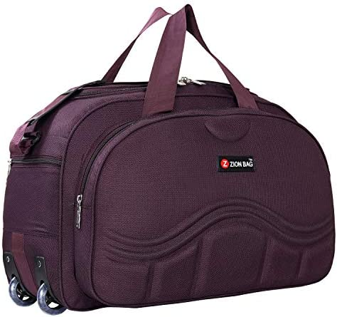 Zion Bag Zeolite Waterproof Polyester Lightweight 60 L Purple Luggage Travel Duffel Bag with 2 Wheels