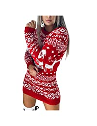 Rookieman Women Sweater Dress Christmas Snowflake Print O Neck Pullover Knitting Sheath Mini Dress