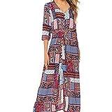 yijiamaoyiyouxia Fashion Women Boho Maxi Dress Print Patchwork Deep V Buttons Bandage 3/4 Sleeve Open Hem Beach Long Dress (M, Pink)
