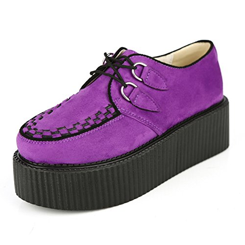 RoseG Women's Handmade Suede Lace Up Flat Platform Creepers Shoe Purple Size9