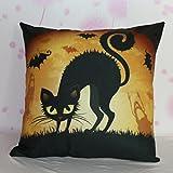 VESNIBA Halloween Pumpkin Square Pillow Cover Cushion Case Zipper Closure (E)