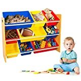 TOP-MAX Kids Toy Storage Organizer, 9 Bins Box & Multicolor Toy Organizer,Shelf Rack Basket Drawer,3-Tiers Display Stand with Cube Unit for Nursery Room/Bedroom/Playroom