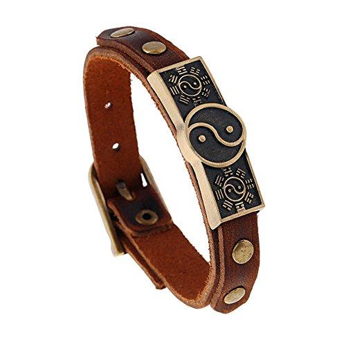 JSEA Metal Yin Yang Leather Bracelet Bangles Brown Bracelet Wirstbands for Men Women
