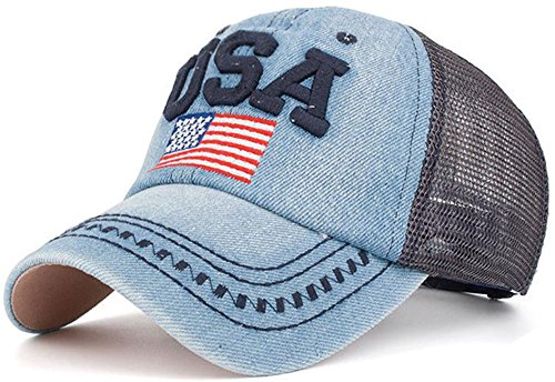 merican Flag Embroidered Operator Cap Baseball Hat (one Size, Mesh Navy) ()