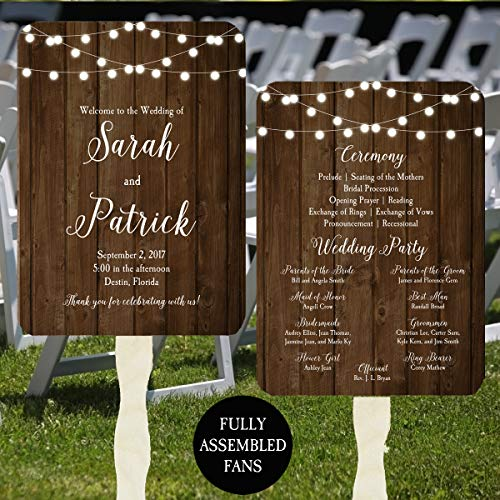 Wedding Program Fans - Wood and Lights Collection - 100 Count Assembled -