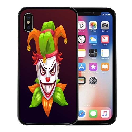 Emvency Phone Case for Apple iPhone Xs Case/iPhone X Case,Red Bad Crazy Creepy Joker Face Angry Clown Evil Soft Rubber Border Decorative, Black