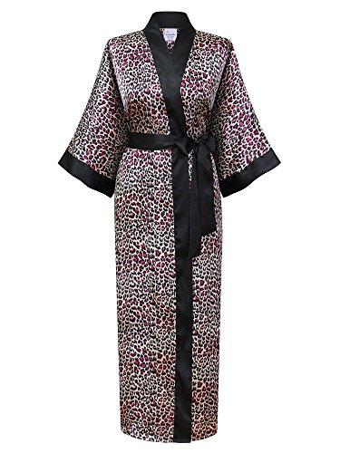 Swhiteme Women's Kimono Robe, Long, One Size, Leopard, Fuchsia, KPL01