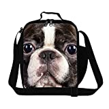 Creativebags Lunch Bags Boxes for Adults Outdoors Sports Climbing Fishing and School Children Boys Girls Polyester 3D Dog Prints