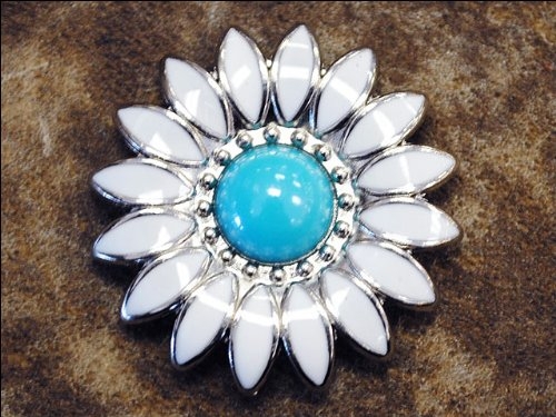 SET OF 4 WHITE ENAMEL TURQUOISE STONE FLORAL CONCHO SADDLE HEADSTALL COWGIRL