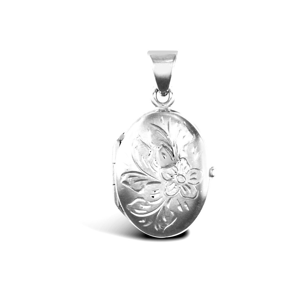 Pendentif médaillon ovale en or blanc 9carats J N Jewellery JLC114