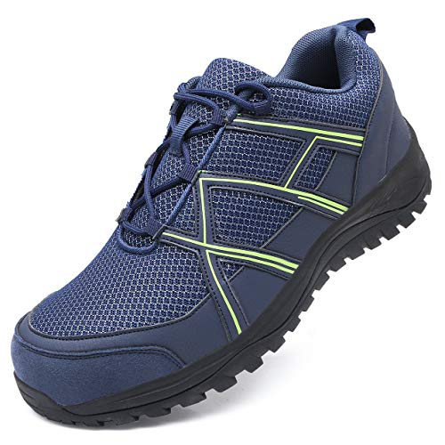 EXEBLUE Men's Work Shoe Steel Toe Safety Shoes - Slip Resistant Working Sneakers for Outdoor Blue