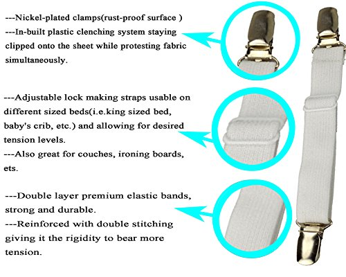 WSupikio 8pcs(2 Sets) Sheet Straps Fitted Sheet Band Adjustable Bed Corner Holder Elastic Fasteners Clips Grippers Mattress Pad Cover Suspenders
