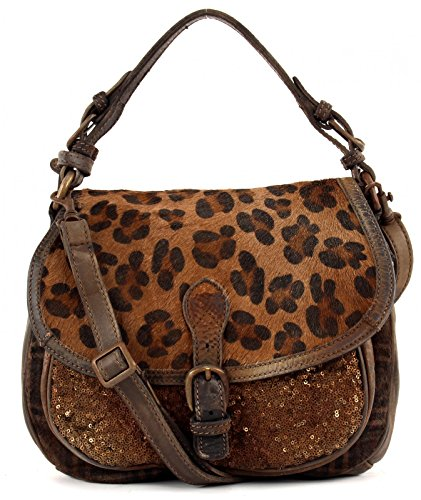 CATERINA LUCCHI Paillettes Flap Bag Dark Brown