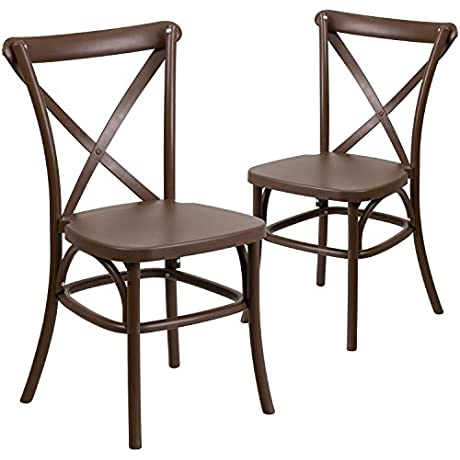 Flash Furniture 2 Pk HERCULES Series Chocolate Resin Indoor Outdoor Cross Back Chair With Steel Inner Leg
